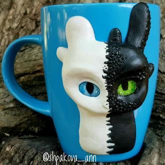 Кружка с декором из полимерной глины арт -дракон