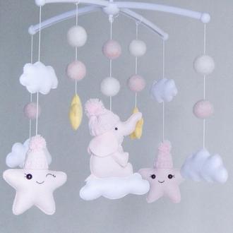 Фетровый мобиль Мобиль для девочки Мобиль облака Мобиль звёзды Мобиль со слоником Мобиль для детской