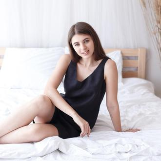 Черная пижама, шорты и топ из льна