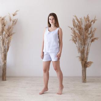 Лавандовая пижама, шорты и топ из льна