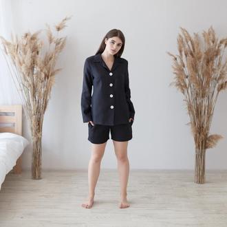 Черный пижама, рубашка и шорты из льна