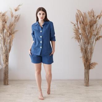 Синяя пижама, рубашка и шорты из льна