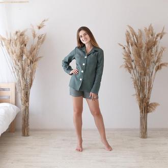 Оливковая пижама, рубашка и шорты из льна