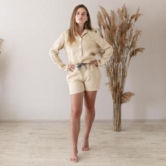 Бежевая пижама,рубашка и шорты из льна