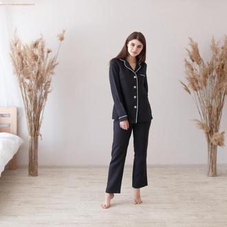 Льняная пижама с кантов в черном оттенке
