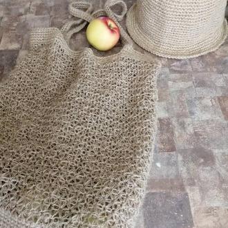 Комплект из панамы и сумки из конопляного джута