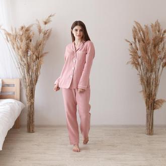 Льняная пижама с кантом в розовом оттенке