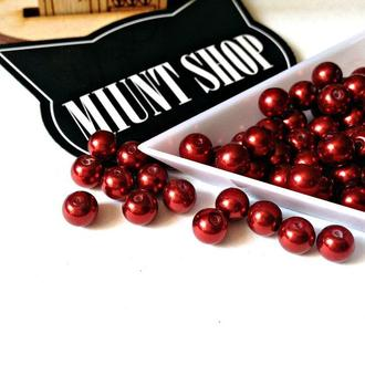 Бусины красный жемчуг стекло 6 мм