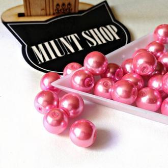 Бусины розовый жемчуг стекло 10 мм