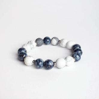 Браслет из кахолонга и синего кварца (модель № 460) JK jewelry