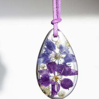 Кулон из эпоксидной смолы с цветами (дельфиниум, фиолетовый кулон)