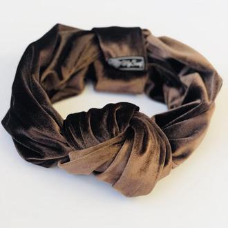 Кофейный тюрбан-обруч осенний, повязка обруч, повязка на голову