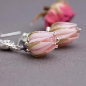 Серьги Розовые бутоны лэмпворк