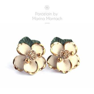 Большие серьги с золотом Керамические сережки