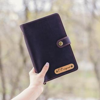 Великий шкіряний гаманець-тревелер, тревел-кейс з шкіри, гаманець для подорожей, клатч-органайзер