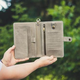 Іменний шкіряний гаманець-тревелер, тревел-кейс з шкіри, гаманець для подорожей, клатч-органайзер