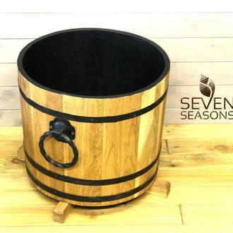 Деревянная кадка для цветов Seven Seasons™ с коваными ручками, 32 литра, золотой дуб