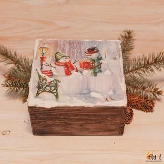 Чайная шкатулка Снеговики