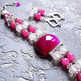 Комплект з натуральних агатів та кристалів браслет і сережки браслет рожевий сережки рожеві фуксія