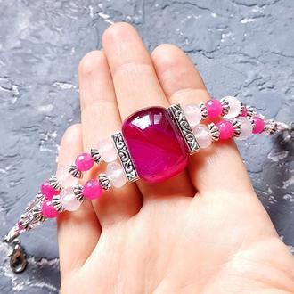 """Браслет из натуральных агатов и кристаллов """"Розовая мечта"""" браслет из агата розовый и фуксия"""