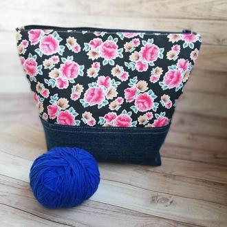 Сумка для вязания, клубочница, сумка для вязаных проектов, проектная сумка