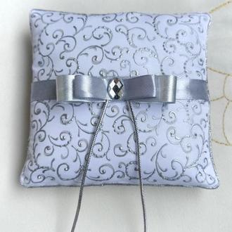 Свадебная подушечка для обручальных колец, серебро
