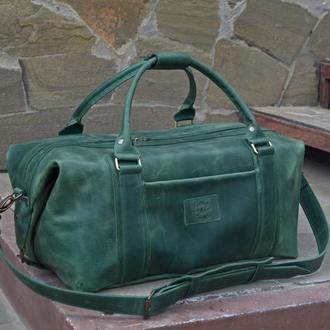 Кожаная дорожная сумка, Зеленая большая спортивная сумка