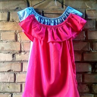 Летняя малиновая розовая котоновая блузка футболка кофта с открытыми плечами и воланом хлопок