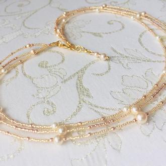 Ніжне намисто з перлами Swarovski