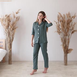 Льняная пижама, рубашка и штаны оливкового цвета