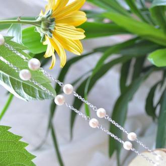 Серьги-цепочки с белым жемчугом ′Жаклин′