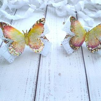 Бантики с бабочками из шифона, бантики из кожи, блестящие бантики