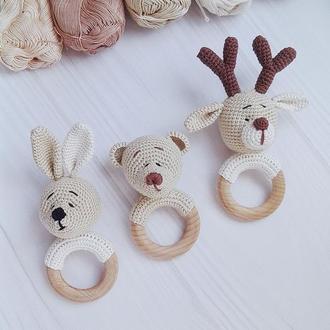 Погремушка - грызунок для малышей Зайка Мишка Олень