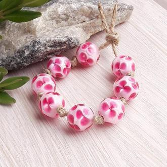 Намистини скляні Рожеві квіти на рожевому лемпворк