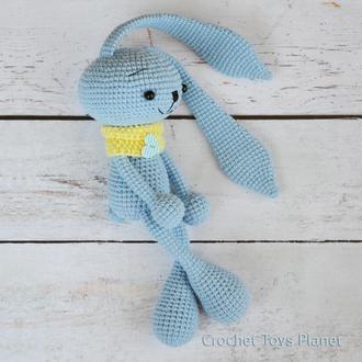 Вязаная игрушка зайчик, Голубой зайчик, вязаная игрушка, Вязаная игрушка