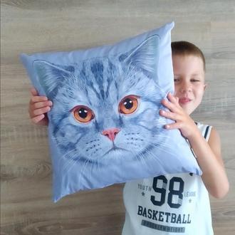 Подушка Кот серый, 40см