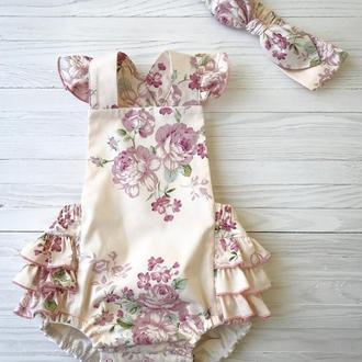 Дитячий ромпер - рожеві квіти + повязка на голову