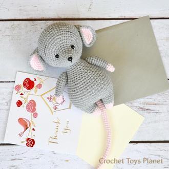 В'язана мишка, іграшка мишка, в'язана іграшка мишка, вязаная игрушка мышка