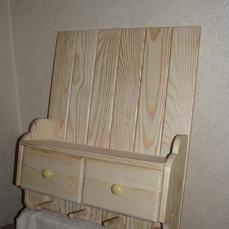 Настенная деревянная полка с ящичками