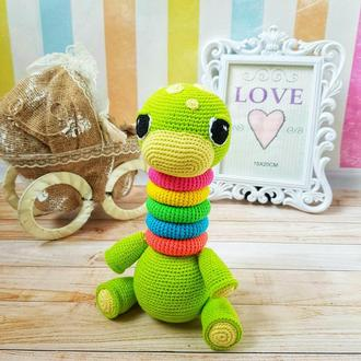 Динозаврик игрушка, пирамидка, вязаная игрушка