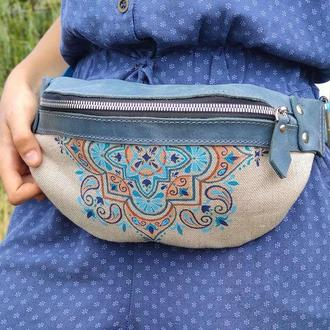 Кожаная текстильная поясная сумка бананка женская с росписью орнаментом в этно стиле