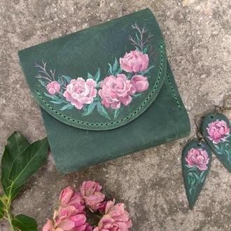 Кожаный зеленый маленький кошелек женский с цветочной росписью