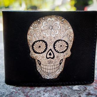 Кошелек с черепом,  череп santa muerte, купить кошелек с  рисунком