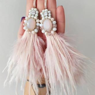 Серьги пудровые с перьями страуса