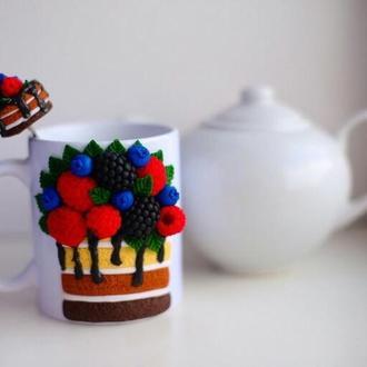 Чашка ,чашка на заказ, кружка с декором, кружка из полимерной глины