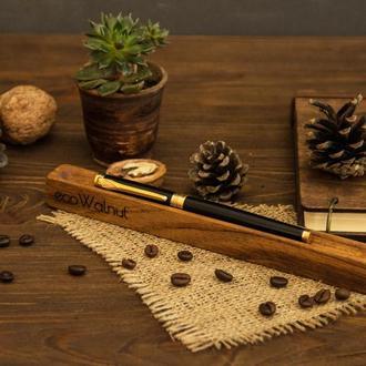 Подарок Женщине Мужчине Подставка Для Ручки Органайзер Декоративный Из Дерева Ореха На Рабочий Стол