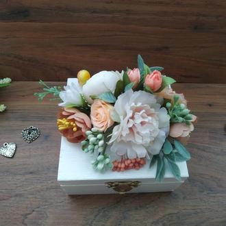 Шкатулка для колец в персиковом цвете Свадебная шкатулка
