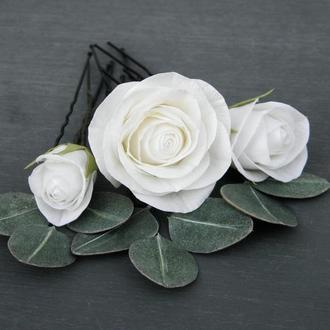Шпильки для волос с розами и листьями эвкалипта, Свадебные шпильки с цветами
