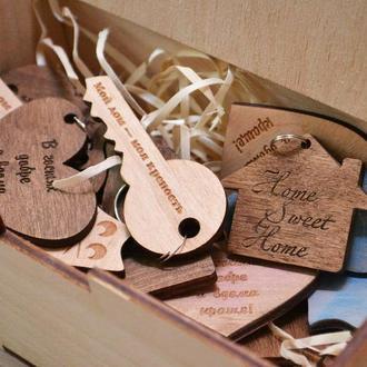 Деревянные брелки,корпоративные подарки, брелки с логотипом