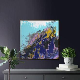 Интерьерная картина в современной технике Fluid art р 40*40 см